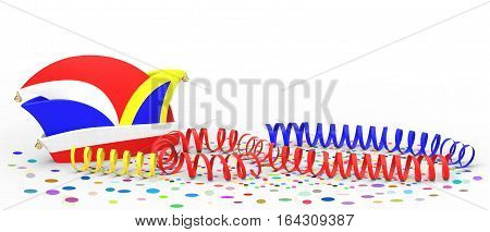 Confetti and party streamer with hat on white background 3D rendering