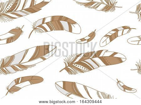 Seamless pattern with beige contour feathers on a white background.
