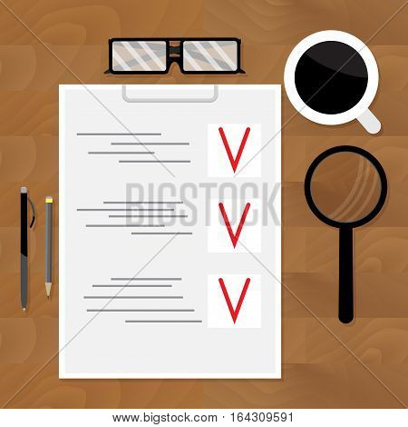Top view of business plan for table. Planning business on workplace vector illustration