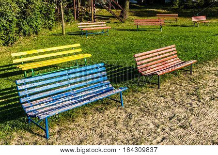 Colorful Benches During Sunset - Trebon Czech Republic Europe