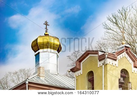 Orthodox church dome in Anyksciai Lithuania on a sunny day