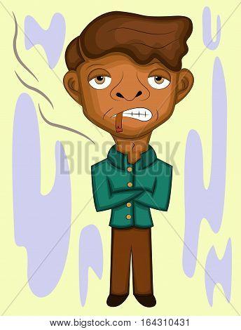 Young Man Smoking while Standing Cartoon Illustration.