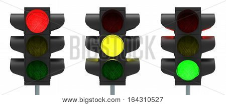 Traffic lights red yellow and green isolated over white background 3D rendering