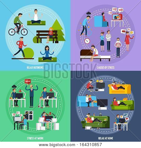 Stress and relax template with stressful situations and ways of relaxation in flat style vector illustration