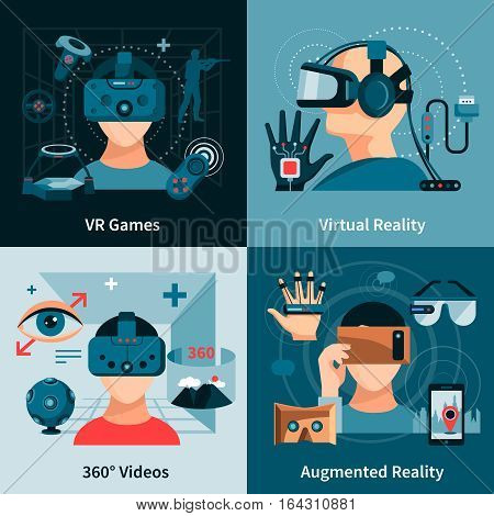 Virtual reality flat concept with people wearing optical innovative devices for real visualisation and simulation vector illustration