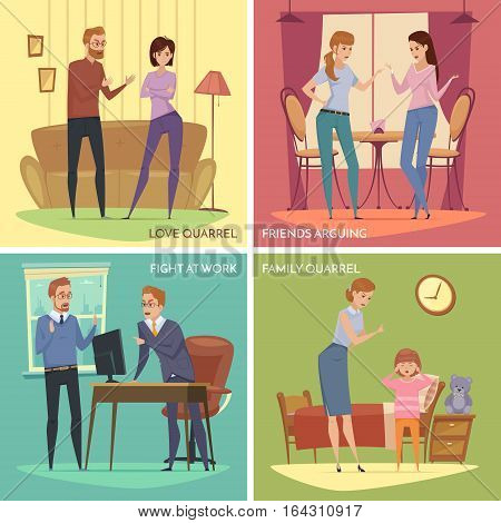 Colorful quarrel concept with arguing angry people in different situations in flat style vector illustration