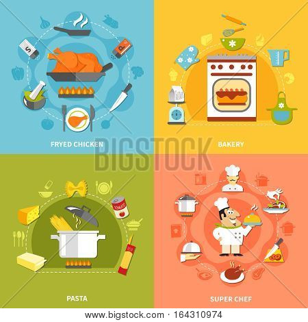 Culinary flat concept with recipes ingredients for different dishes cooking at home and chef tasks vector illustration