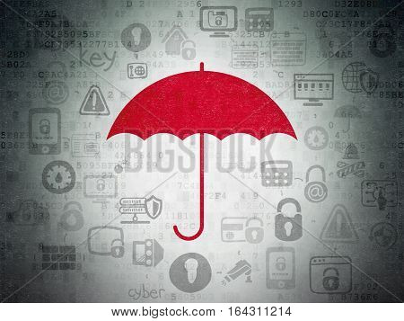 Security concept: Painted red Umbrella icon on Digital Data Paper background with Scheme Of Hand Drawn Security Icons