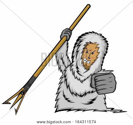 Eskimo Man Hunter with Spear Cartoon Character