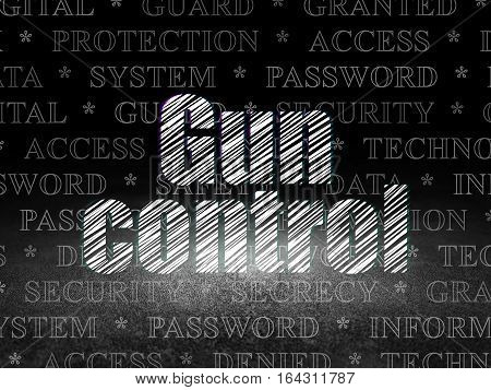 Protection concept: Glowing text Gun Control in grunge dark room with Dirty Floor, black background with  Tag Cloud
