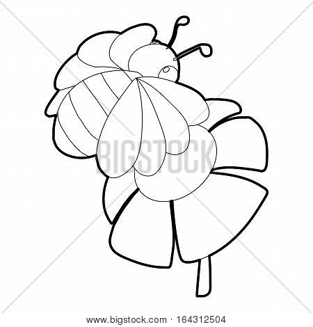 Bee on flower icon. Isometric 3d illustration of bee on flower vector icon for web