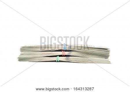 Stacks of dollars in hundred dollar banknotes isolated with copy space