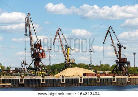 Port cranes on the bank of Volga River near the Bor town of Nizhny Novgorod region