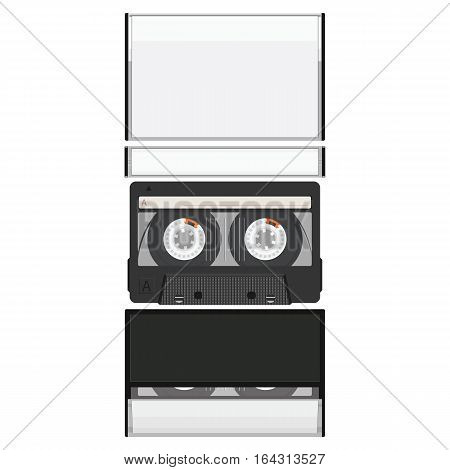 Blank cassette tape box design mockup. Retro audio music cassette. Realistic vector illustration.
