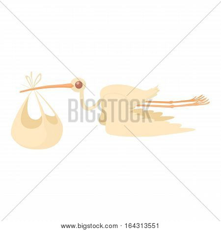 Stork delivering a newborn baby icon. Cartoon illustration of stork delivering a newborn baby vector icon for web
