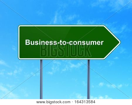 Finance concept: Business-to-consumer on green road highway sign, clear blue sky background, 3D rendering