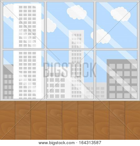 View from window. Looking out window and city view office window. Vector illustration