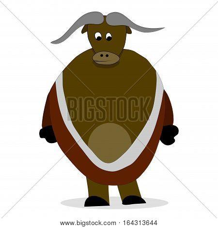 Bull yak character. Vector yak isolated himalayas animal illustration