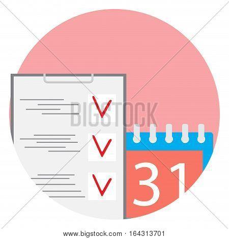 Deadline flat icon vector. Calendar deadline time running out illustration