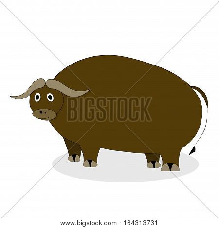 Yak bull character. Mammal male bull, mascot comic large yak wool vector illustration