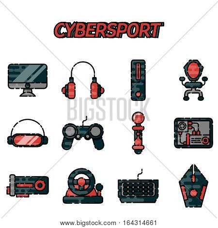 Cybersport flat icons set . Game gadget color icons set with wireless gamepad console joystick steering wheel elements isolated vector illustration