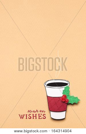 Creative concept photo of christmas take away coffee cup made of paper on brown background.