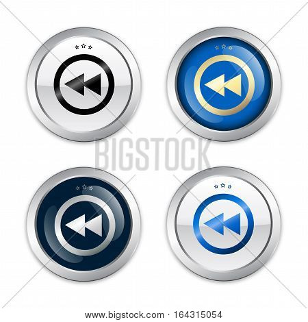rewind seals or icons with arrow sign. Glossy silver seals or buttons.