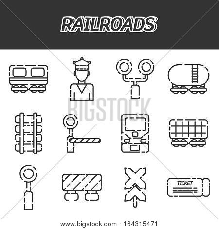Railway, Railroads icons set with train locomotive wagon conductor isolated vector illustration