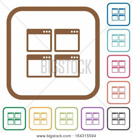 Mosaic window view mode simple icons in color rounded square frames on white background