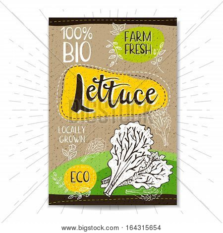 Colorful label in sketch style, food, spices, cardboard textured background. Lettuce. Leaf. Bio, eco, farm, fresh. locally grown. Hand drawn vector illustration.