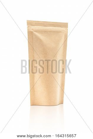 blank packaging recycle kraft paper pouch isolated on white background with clipping path