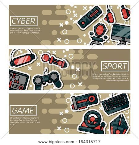 Set of Horizontal Banners about cybersport . Game gadget color icons set with wireless gamepad console joystick steering wheel elements isolated vector illustration