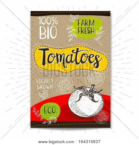 Colorful label in sketch style, food, spices, cardboard textured background. Tomatoes. Vegetables. Bio, eco, farm, fresh. locally grown. Hand drawn vector illustration.