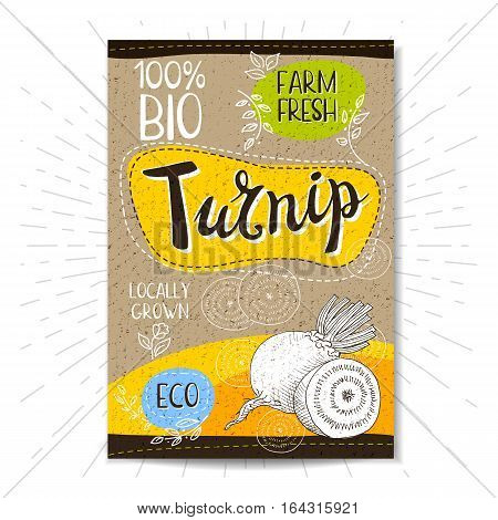 Colorful label in sketch style, food, spices, cardboard textured background. Turnip. Vegetables. Bio, eco, farm, fresh. locally grown. Hand drawn vector illustration.