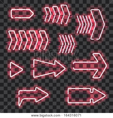 Set of glowing pink neon arrows isolated on transparent background. Shining and glowing neon effect. Every arrow is separate unit with wires, tubes, brackets and holders. Vector illustration.