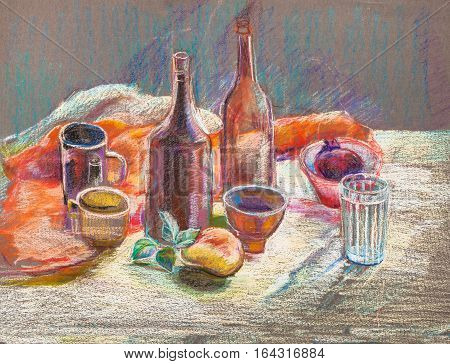 Still life with glass bottles on orange cloth