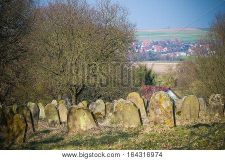 Old cemetary with an rural landscape view
