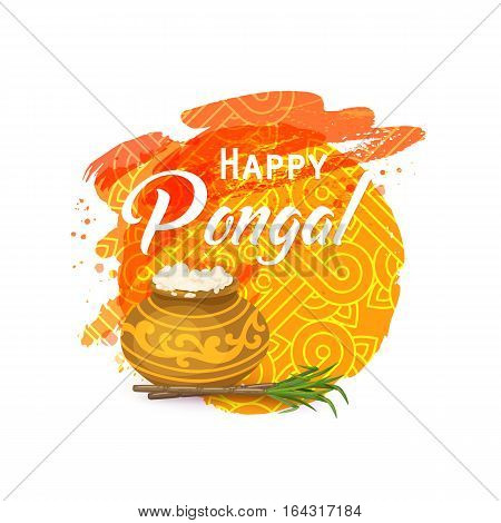 Happy Thai Pongal. Indian harvesting festival. Religious celebration with rice, milk, traditional pot, sugarcane. Watercolor background, rangoli, kolam. Template for greeting card. Vector illustration