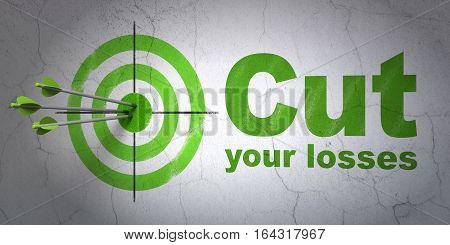 Success finance concept: arrows hitting the center of target, Green Cut Your losses on wall background, 3D rendering
