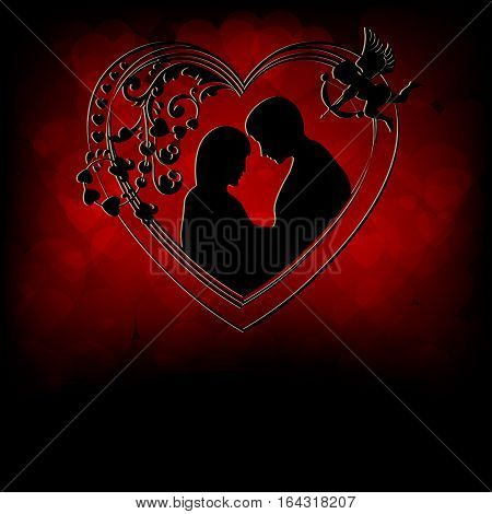 Silhouettes of lovers men and women snuggled up to each other, inside the heart on a red background