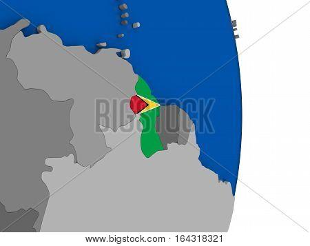 Guyana On Globe With Flag