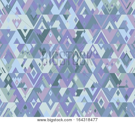Winter seamless geometric vector pattern of triangles in a hipster style. Purple and blue shades.