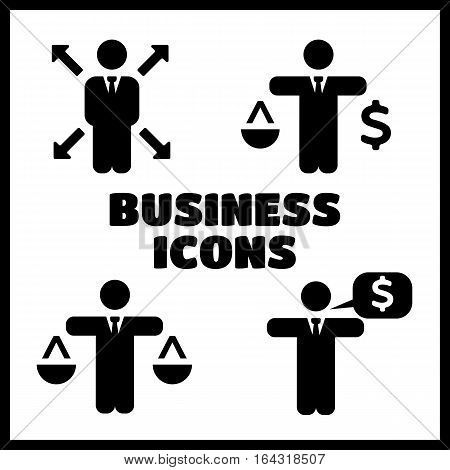 Business Policies black Icons set vector illustration