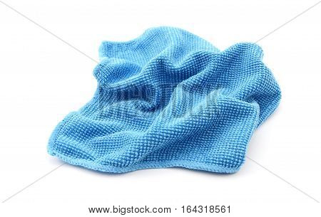 Blue microfiber screen cleaning cloth isolated on a white background