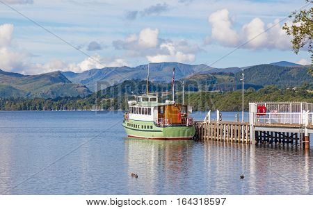 A view of Ullswater from the pier near Pooley Bridge in the English Lake District.