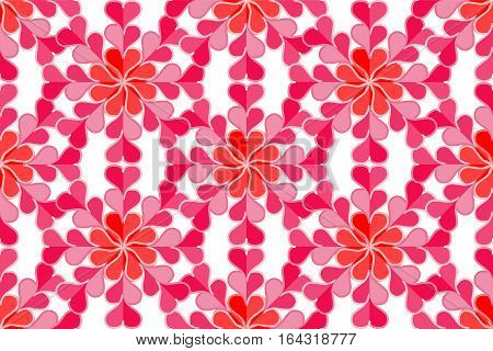 Vector Illustration. Seamless Pattern of Red and Pink Hearts. Background for Valentine's day