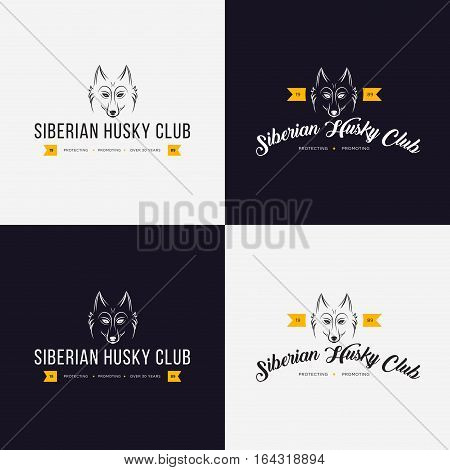 Husky head flat logo vector set. Set of vintage logo and logotype elements for pet shop pet house pet and exotic animals clinic