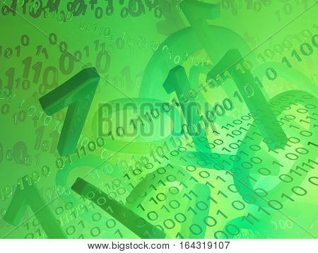 Virtual digits abstract 3d illustration green background horizontal