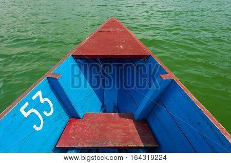 Boat ride across Lake Phewa. Pokhara, Nepal