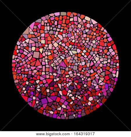 Mosaic design element in circle form. Abstract Ceramic tile texture.